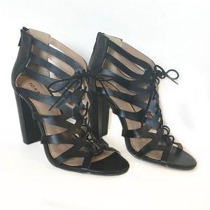Torrid Black lace up block heel 10 W